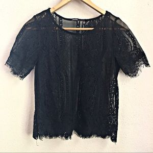 Love Culture Black Lace Sheer Top Womens Size S